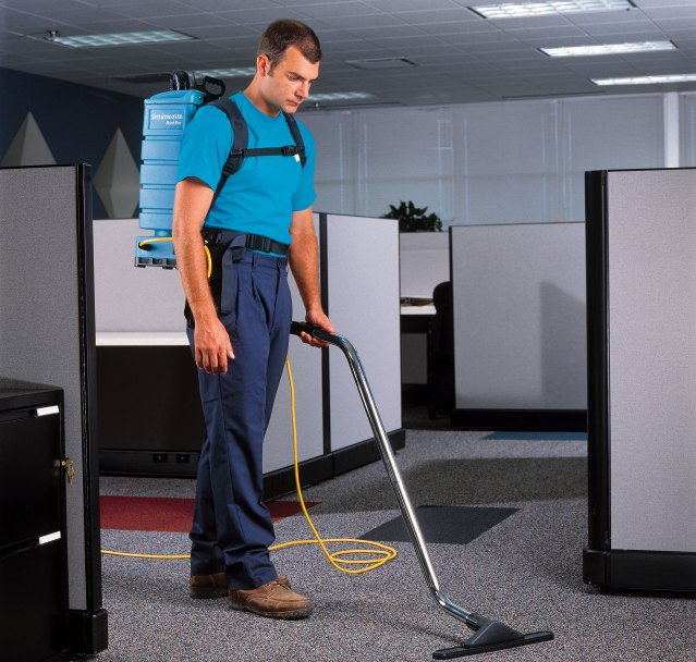 Office having the carpets cleaned as part of an office cleaning program.