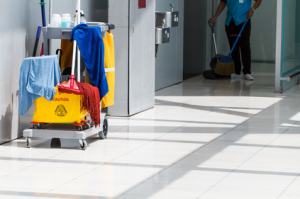 ServiceMaster Clean commercial cleaning supplies in a hospital hallway.